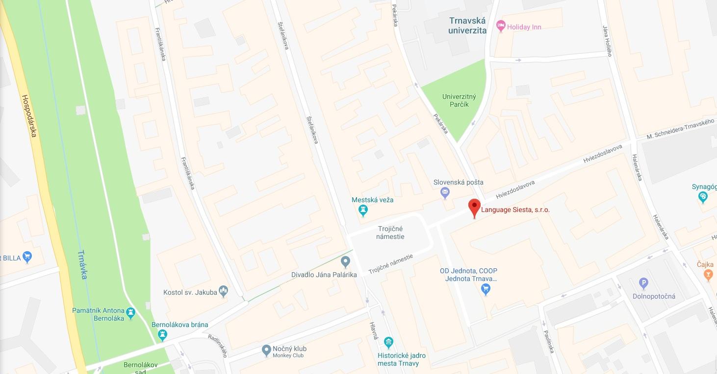 mapka centra Trnava